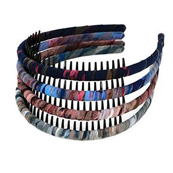 STHUAHE 4Pieces Woman/Girls Bohemia Style Series Silk and Protection Resin Teeth Comb Hair Hoop Hairband Headband Hair Accessories by Beauty Hair