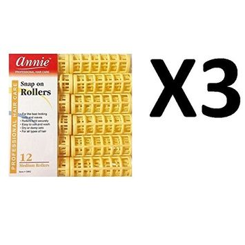 [ VALUE PACK OF 3 ] ANNIE #1002 SNAP ROLLERS -SIZE MEDIUM (12CT/PACK) : Beauty