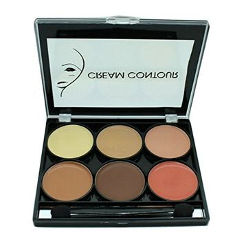 Celavi Contour and Highlight 6 Color Palette w/ Dual Headed Sponge and Built in Mirror Easy To Use Kit (Cream)