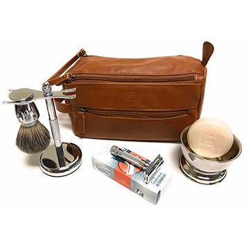 GBS Deluxe Travel Set with Merkur 34c (34001 HD) - Doppler Bag + Shaving Bowl with Soap, Razor & Brush Stand + Blades Enjoy This Classic Vintage Wet Shave Set for Men with German made razor