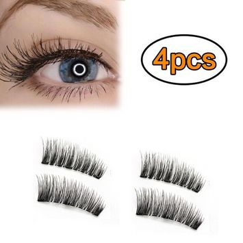 AWSTECH 4 PCS Full Eye Magnetic Eyelashes, Triple Magnetic False Eyelashes, 0.2mm Ultra Thin 3D Fiber Reusable Fake Lashes Extension, Long, Natural Look, No Glue