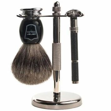 Parker 96R Safety Razor Shave Set - Includes Pure Badger Brush, Stand & Parker 96R Butterfly Open Safety Razor