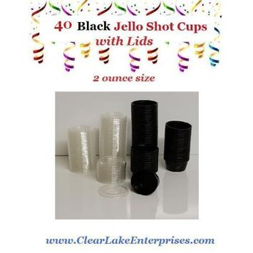 Polar Ice 40 Count Jello Shot Glasses, Souffle Cups and Portion Cup with Lids, 2-Ounce, Black