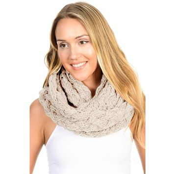 Basico - Basico Winter Chunky Knitted Infinity Scarf Circle Loop Various Colors (SF1602) [name: actual_color value: actual_color-beige]