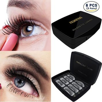 Magnetic False Eyelashes Pack of 2 Pairs Sets:8 Pcs in Luxury Acrylic Box Gift Package,3D Reusable Fake Eye Lashes with Double Magnets of Two Styles:Long & Short