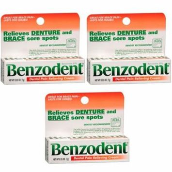 3 Pack Benzodent Denture Ointment - 0.25 Oz Each