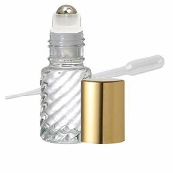 Grand Parfums Aromatherapy 6 Glass Roll on Bottles, Swirled Clear Glass, Stainless Steel Rollerballs Gold Metallic Caps 4ml, 1/8 Oz Dram Bottles Fragrance, Aromatherapy, Essential Oils, Lip Gloss/Balm