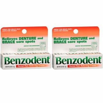 2 Pack Benzodent Denture Ointment - 0.25 Oz Each