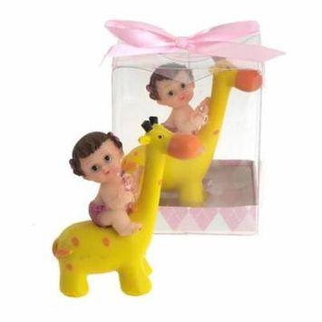 Pacifier Baby Giraffe Ride Polyresin Favors, 2-3/4-Inch, Light Pink