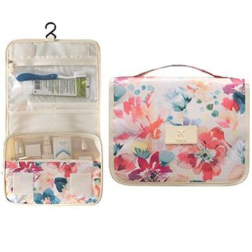 Multifunction Large Travel Toiletry Women Makeup Kit Cosmetic Bag Case Organizer, Haning Portable Brushes Pouch Orange