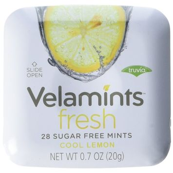 Velamints Fresh Sugar Free Mints Tin, Lemon, 28 count, 20 Gram (Pack of 6 )