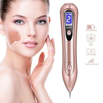 Mole Remover, KINIVA Dot Freckle Acne Removal LCD Pen, Skin Tag Sweep Age Spot Electric Kit for Tattoo, Nevus, Pigment, Fleshy, Birthmark (USB, Home Use Device) - Pink