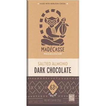 Madecasse Dark Chocolate 63% Salted Almond -- 2.64 oz - 3 pack
