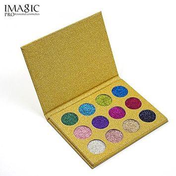 12 Colors Eyeshadow Palette,Fenleo Shimmer Glitter Eye Shadow Powder Palette Matte Eyeshadow Cosmetic Makeup
