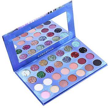 Creazy 28 Color Blue Starry Sky Shimmer Glitter Eye Shadow Plate Powder Matt Eyeshadow
