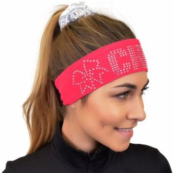 Cheer Rhinestone Sparkly and Shiny Wide Headband - One Size / Hot Pink