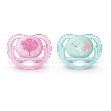 Philips Avent Ultra Air Pacifier, 0-6 months, pink fashion decos, 2 pack, SCF343/20 [0-6 Months]