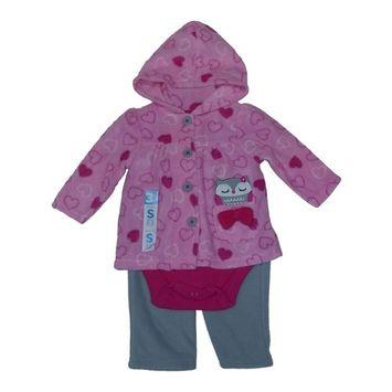 Bon BeBe Baby Girls Pink Heart Owl Fleece Jacket Bodysuit 3 Pc Pants Set