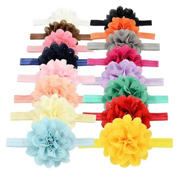 YOY Fashion Baby Girls Boutique Hair Accessories Stretchy Elastic Bands Headbands Set with Chiffon Flower Petal Bows Head Wear for Toddlers Teens Kids Pack of 16