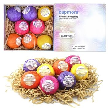 Bath Bombs, Kapmore 8 PCS Bath Bomb Gift Set Natural Bath Ultra Lush Spa Fizzies Bombs for Bubble & Spa Bath Handmade Bombs Birthday Gifts for Women Men Kids Girlfriends