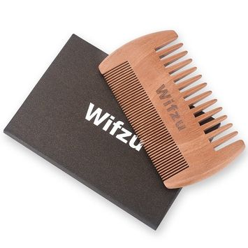 (Clearance) Anti Static Wood Pocket Comb & Black Leather Case By Wifzu, Wooden Beard Comb for men, Dual Action Beard Comb with Fine & Coarse Teeth For Beard Hair &Mustaches, Perfect for Balms and Oils : Beauty