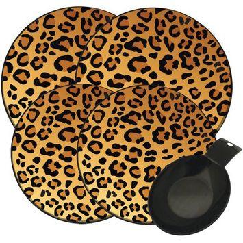Range Kleen 5-Pack In the Wild Leopard Burner Kover, Black Spoon Rest