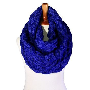 Basico - Basico Winter Chunky Knitted Infinity Scarf Circle Loop Various Colors (SF1602) [name: actual_color value: actual_color-navyblue]