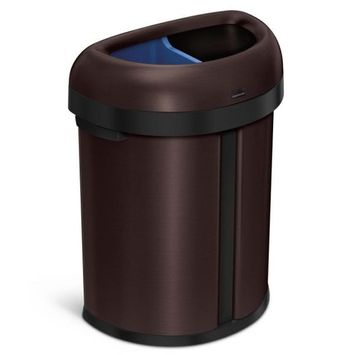 simplehuman 17.4 Gal./66 L Dark Bronze Heavy-Gauge Stainless Steel Dual Compartment Semi-Round Open Top Commercial Trash Can