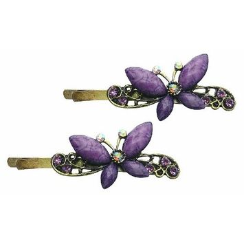 Pair of Butterfly Hairpins with Colorful Beads and Rhinestones P86375-1purple