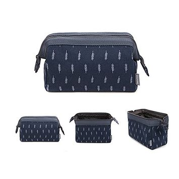 Cosmetic Bag, Portable Travel Beauty Makeup Bag Toiletry Waterproof Make Up Pouch for Purse Cotton Printing Feather