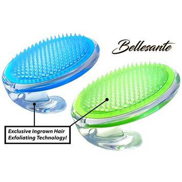 Bellesante Ingrown Hair and Razor Bump Treatment-3 PCS-Travel Kit -Green and Blue- Fine Bristle Brush to Prevent, Remove, Massage, Exfoliate, and Treat Pseudofolliculitis barbae - Men and Women