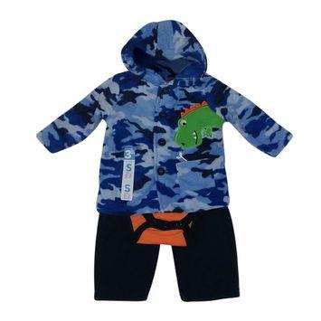 Bon BeBe Baby Boys Blue Camouflage Jacket Bodysuit 3 Pc Pant Set