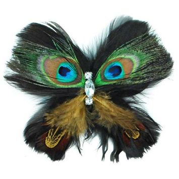 Expo International, Inc Expo Peacock Feather Butterfly Brooch Pin Hair Clip Accessory with Crystal Gems