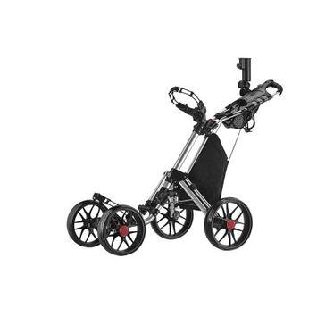 Caddy Tek CaddyTek One-Click Folding 4 Wheel Version 3 Golf Push Cart, Silver