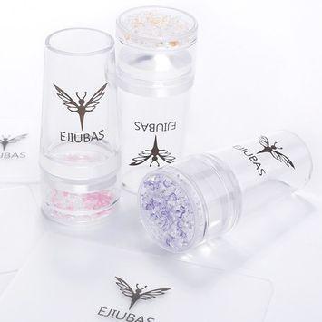 Ejiubas 3 Pcs Jelly Clear Nail Stampers 3 Pcs Sandy Nail Scrapers 3 Pcs Silicone Nail Art Stamper Heads Nail Stamping Kits DIY Nail Art Tools