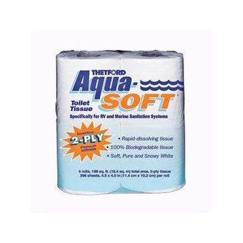 03300 Aqua-Soft Toilet Tissue 2-Ply / 4-Pack Quantity 10, 10 4-Packs of Thetford 03300 Aqua-Soft Toilet Tissue (Total of 40 Rolls) By Thetford