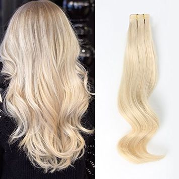 Amazingbeauty Semi-permanent Real Remi/Remy Human Tape in Human Hair Extensions 50g/20pcs Skin Weft Tape Attached Invisible Seamless Reusable Platinum Ash Blonde Color #60 14 Inch