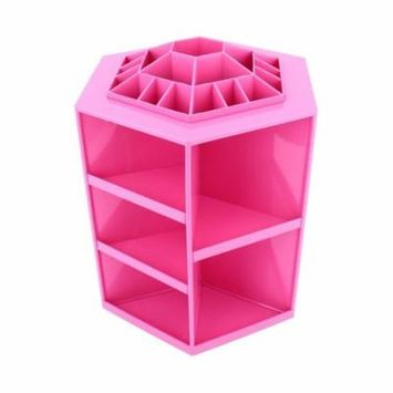 TMISHION 360 Degree Tidy Rotating Cosmetic Makeup Storage Box for Brush Lipstick Jewelery(Pink)