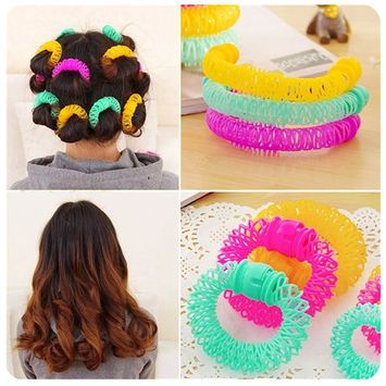 Lovef 6pcs/8Pcs Doughnut Rollers Circle Hair Curly Wave Hairdressing Care DIY