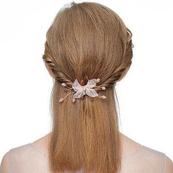 Urberry Delicate Flower Butterfly Crystal Wedding Hair Clip Elegant Rhinestone Headband Crystal Diamond Headpiece for Bridal
