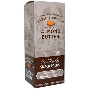 Barney Butter, Almond Butter, On the Go Snack Packs, Cocoa + Coconut, 6 Packets, 0.6 oz (17 g) Each [Flavor : Cocoa + Coconut]