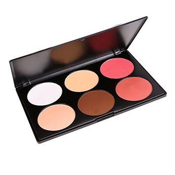 eshion 6 Colors Contour Face Press Power Foundation Makeup Blush Palette