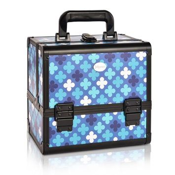 Makeup Organizer Case Brush Holder - Cosmetic Storage Box Lockable with 3 Trays Blue Floral Pattern