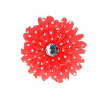 Hair Accessory Red Polka Dot Rhinestone Daisy Flower Hairclip