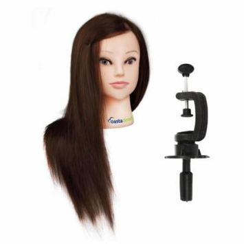 CoastaCloud Mannequin Doll 22inch/24inch 98% Human Hair Manikin Head + Free Clamp Holder Salon Cosmetology Beauty Head Training Hairdressing Makeup Hairdresser Hair styling Practice