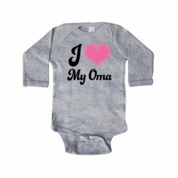 I Heart My Oma Granddaughter Gift Idea Long Sleeve Creeper