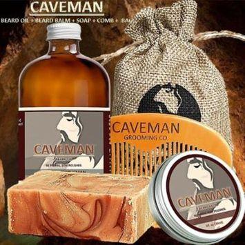Caveman Beard Oil, Balm, Soap and Comb Kit - Leave in Conditioner Scent: Straight Razor