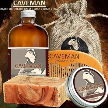 Caveman Beard Oil, Balm, Soap and Comb Kit - Leave in Conditioner Scent: Drunken Caveman (Bay Rum)