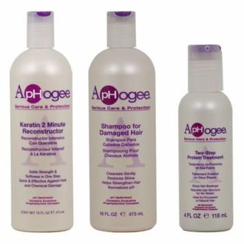 Aphogee Keratin 2 Minute Reconstructor + Damaged Shampoo 16oz + Two Step 4oz