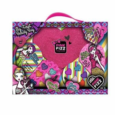"""Pink Fizz """"My First Beauty Bag"""" Heart Shaped Cosmetic Pouch With Handle Filled With Shimmery Lip Gloss & Glittery Eye Shadow Palettes"""
